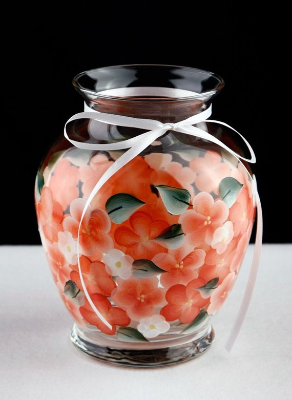 Hand Painted Apricot  Flowered Vase