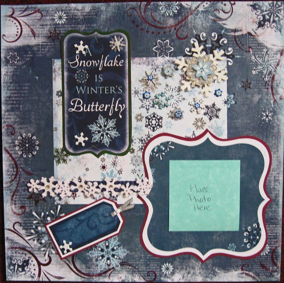 Premade Scrapbook Page 12 x 12 -Winter's Butterfly