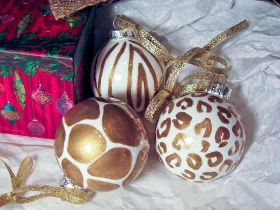 Hand Painted Gold and White Animal Print Ornaments