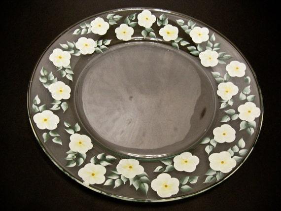 White Flowered Hand Painted Serving Platter