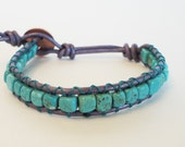 Handmade Chan luu style  De Santos Turquoise on Metallic Purple Wrap Bracelet
