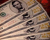 Vintage Style 25 cent Paper Currency Featuring Abraham Lincoln - 5 Pieces