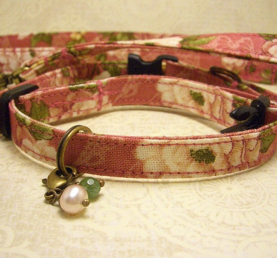 Small Dog Collar Leash Set - Pale rose Peonies on a medium rose background with a pearl and agate charm on antique brass.