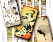 Cranes (2)  Digital Collage Sheet - Traditional Japanese Cranes - 30 different Dominos 1x2 inch glass pendant, bamboo tiles, paper craft