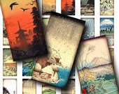 Asian Landscape (1) Digital Collage Sheet with Sceneries from Asia - Domino 1x2 inch or Bamboo size - See Promo Offer