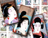 Mysterious Geishas (5) Digital Collage Sheet - Dominos 1x2 inch or Bamboo size for jewelry & craft project - Buy 3 Get 1 Extra Free