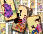 Vintage Japanese Children (1) Dominos 1x2 inch or Bamboo .75x1.5 in - Digital Collage sheet - Buy 3 Get 1 Extra Free