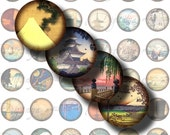 Asian Landscape (1) Digital Collage Sheet - Images of Japan & China - Circles 1inch - smaller sizes available - Buy 3 Get 1 Extra Free