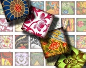 Asian Ornament (8) Digital Collage Sheet - Luxuriant vintage Oriental motifs - 56 Squares 1 inch or smaller for pendant - see promo