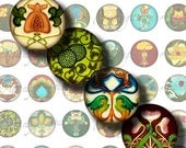 Floral Deco (1) Circles 1inch or smaller - Digital Collage Sheet - Floral Accents Art Nouveau and Art Deco - See promo offer