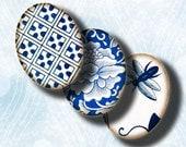 30x40mm feuille de Collage numérique - pouce de 1.2x1.6 ovales faïence chinoise - asiatique porcelaine bleue (3) ou plus petit disponible - Buy 3 Get 1 Extra gratuit
