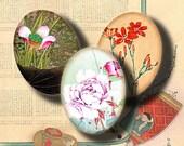 Feuille de Collage numérique VINTAGE flore asiatique (2) - 30x40mm ovales ou 18x25mm ou plus petit pour les pendentifs de la résine, cabochons - Buy 3 Get 1 Extra gratuit