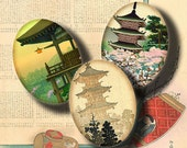 Asian Landscape (2) Digital Collage Sheet with nature, seaside, temples, villages - 30 Ovals 30x40mm or smaller - See promo