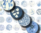 Shades of Blue (4) Digital Collage Sheet - 48 Circles 1inch - 25mm or smaller with indigo swirl, brown bird, blue damask - see promo offer