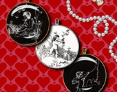 Vintage CUPIDS in Black & White - 2 Digital Collage Sheets - Circles 1.5 inch - 38mm or any smaller available - Buy 3 Get 1 Extra Free