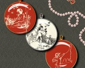ADORABLE CUPIDS in Red & Off White - Two Digital Collage Sheets - Circles 1.5 inch or 1inch or other sizes available - See Promo Offer