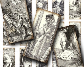 Vintage anthropomorphic illustrations from Jean De La Fontaine poetry (1) Dominos 1x2 inch - Digital Collage Sheet