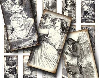 La Fontaine Classic Tragedies monochrome illustrations (2) Digital Collage Sheet - Dominos 1x2  inch or bamboo size - Buy 3 Get 1 Extra Free