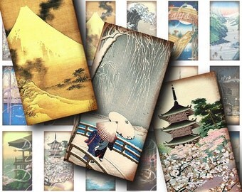 Asian Landscape (2) Digital Collage Sheet - beautiful antique prints of Japanese Scenery - 30 Domino 1x2 for jewelry - See Promo Offer