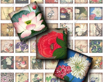 Asian Flora (1) Digital Collage Sheet - 56 Squares 1x1 or 0.875 or scrabble size for resin pendant  - Buy 3 Get 1 Extra Free