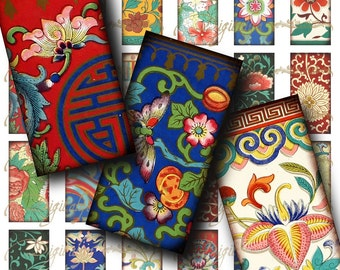Asian Ornament (1)  Digital Collage Sheet - Colorful Flourishes from Asia -30 Dominos 1x2 inch - see promo offer