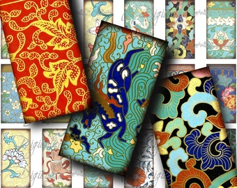 Asian Ornament (6) Digital Collage Sheet - Domino 1x2 inch or Bamboo size for jewelry & craft - Buy 3 Get 1 Extra Free