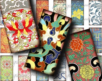 Vintage Asian Ornament & Flourishes (8) Digital Collage sheet - Dominos 1x2 inch or Bamboo size for pendant - Buy 3 Get 1 Extra Free