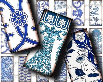 Asian Blue Porcelain (4) Digital Collage Sheet with Faience from the Far East - 30 Dominos 1x2 inch for resin pendant - see promo