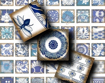 Delicate Floral Chinese motifs - Digital Collage Sheet - Asian Blue Porcelain (1) Squares 1 inch or 0.875 inch or scrabble size -