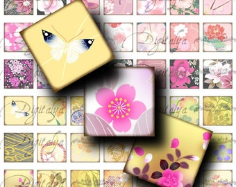 Japanese Design Pink Yellow (1) Digital Collage Sheet - Squares 1 inch or 0.875 inch or scrabble - Buy 3 Get 1 Extra Free