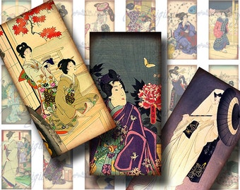 Beautiful Antique Geishas (8) Digital Collage Sheet - Dominos 1x2 inch or Bamboo size for glass pendant & jewelry - Buy 3 Get 1 Extra Free