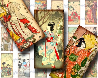 VINTAGE JAPANESE CHILDREN (2) Digital Collage sheet - 30 Dominos 1x2 inch or bamboo size - Buy 3 Get 1 Extra Free