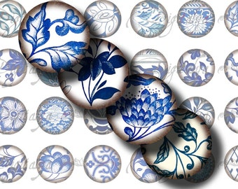 Asian Blue Porcelain (5) Digital Collage Sheet - 48 Circles 1inch - 25mm or any smaller size available - Buy 3 Get 1 Extra Free