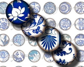 Digital Collage Sheet - Asian Blue Porcelain (6) Circles 1inch - 25mm or smaller - Vintage Oriental blue florals - Buy 3 Get 1 Extra Free