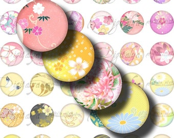 Japanese Design Pink & Yellow (1) Digital Collage Sheet with Circles 1inch - 25mm or 12mm or any smaller size - Buy 3 Get 1 Extra Free