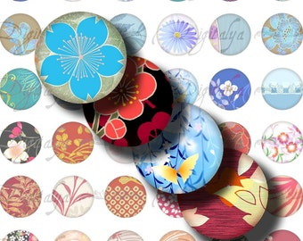 Japanese Design Blue & Red (2) Digital Collage Sheet - Circles 1 inch - 25mm or smaller- Buy 3 Get 1 Extra Free