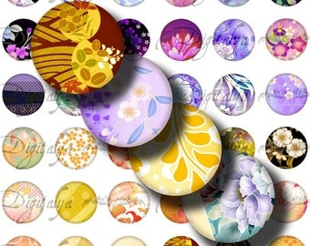Japanese Design Orange & Purple (2) Digital Collage Sheet - Circles 1inch - 25mm or 12mm or any smaller size - Buy 3 Get 1 Extra Free