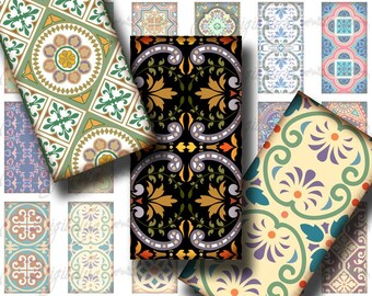 Tiles From Around The World (1) Digital Collage Sheet - Wonderful mosaic pattern - 30 Dominos 1x2 inch or bamboo size for resin pendant