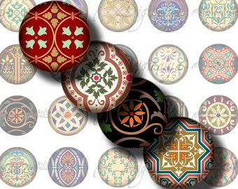 Tiles From Around The World (1) Circles 1.5 inch - 38mm or any smaller - 2 Digital Collage Sheets - Buy 3 Get 1 Extra Free