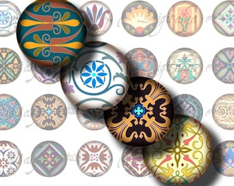Tiles From Around The World (2) Circles 1.5 inch - 38mm or any smaller size - Digital Collage sheet with 48 Mosaics - Buy 3 Get 1 Extra Free
