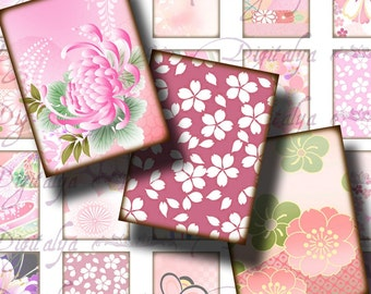 Spring in Japan (1) Digital Collage Sheet  - Delightful Floral Designs in Pinks 30x40mm for jewelry -  See Promo Offer