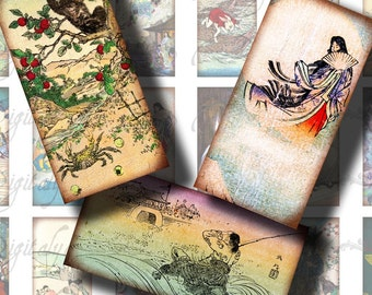 Japanese Fairy Tales (1) Dominos 1x2 inch or Bamboo size - Digital Collage Sheet - Buy 3 Get 1 Extra Free