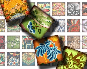 """Asian Ornament (7) Digital Collage Sheet - Square 1x1"""" or 0.875"""" or 0.75x0.83"""" for scrabble and resin pendant - See Promo Offer"""