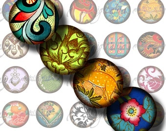 Asian Ornament (10) Digital Collage Sheet  with Chinese Ornamental Art  Circles 1inch - 25mm or smaller - Buy 3 Get 1 Extra Free
