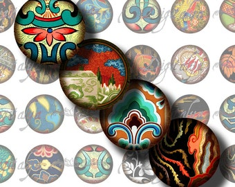 Asian Ornament (14) Digital Collage Sheet - Circles 1inch - 25mm or any smaller size - 48 Tiles for resin pendants - Buy 3 Get 1 Extra Free