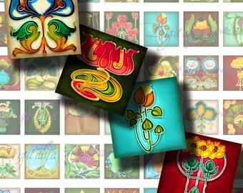 Floral Deco (1) Digital Collage Sheet - Squares 1x1 or 0.875 or scrabble - Art Deco Art Nouveau Floral motif - Buy 3 Get 1 Extra Free