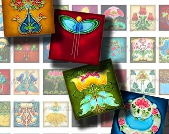 Floral Deco (2) Digital Collage Sheet - Squares 1x1 inch or smaller for scrabble tile, resin pendant, magnet - see promo offer