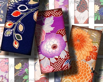 Kimono Fabrics (2) Digital Collage sheet - Dominos 1x2 inch or Bamboo size - Traditional Japanese Kimono patterns - Buy 3 Get 1 Extra Free
