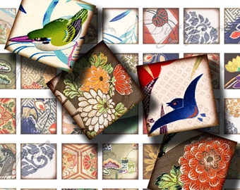 Kimono Fabrics (2) Digital Collage sheet - Squares 1 inch for pendant - Printable  Download - Buy 3 Get 1 Extra Free