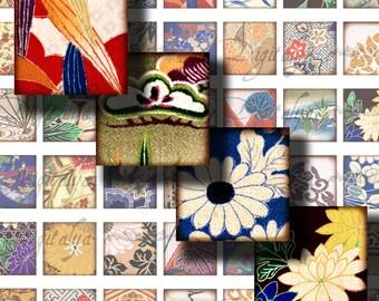 Kimono Fabrics (5) Digital Collage Sheet - 56 Squares 1x1 for pendant for magnet & pendant - Buy 3 Get 1 Extra Free